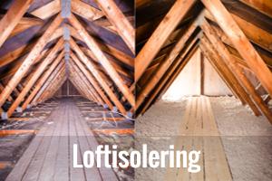 Isolering af loft og loftisolering knap